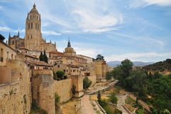 Segovia view of the old town. Castile, Spain. The old town of Segovia and cathedral bell tower. View of the surrounding countryside. Castile region, Spain stock images