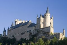 Segoviaalcazar-Seiten-blauer Himmel Stockbild