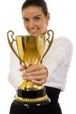 segra för affärskvinnaguldtrofé royaltyfri fotografi