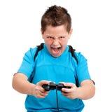 segra för video för inställningpojkekonsol leka Royaltyfri Foto