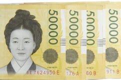 Segrade Korea pengar 50000 Fotografering för Bildbyråer