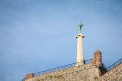 Segrarestaty på den Kalemegdan fästningen som ses från botten i Belgrade, Serbien royaltyfri bild