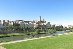 The Segre River as it passes through the city of Lleida Stock Image