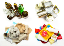 Segregated garbage - ready to recycle. Glass, metal, paper and p Stock Images