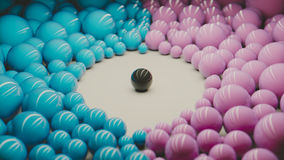 Segregation. A ball surrounded by other balls Royalty Free Stock Photography