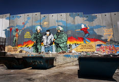 Segregation wall in Palestine. The controversial Israeli wall in Palestine, dividing the State of Israel from West Bank stock photography