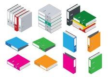 Segregator kartoteki pusta falcówka kartoteki falcówki biuro Skład odizolowywający na białym tle Mieszkania 3d isometric wektorow Zdjęcie Stock