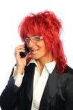 Segretaria della donna con capelli rossi Fotografia Stock