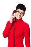 Segretaria nel colore rosso immagini stock libere da diritti