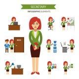Segretario agli elementi infographic del lavoro Donna di affari che lavora nell'ufficio, una presentazione, parlante sul telefono illustrazione di stock