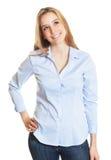 Segretario femminile con capelli biondi che guardano lateralmente Immagine Stock Libera da Diritti