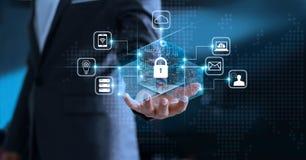 Segretezza di protezione dei dati GDPR UE Rete cyber di sicurezza fotografia stock libera da diritti
