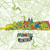 Segreti Art Map di viaggio di Minsk Immagine Stock Libera da Diritti