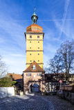 Segringer gate in famous old romantic medieval town of Dinkelsbu Stock Image