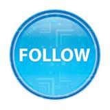 Segua il bottone rotondo blu floreale illustrazione di stock