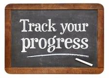Segua il vostro consiglio di progresso sul oard del blackb Immagine Stock Libera da Diritti