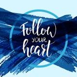 Segua la vostra calligrafia moderna del cuore Fotografie Stock