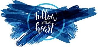 Segua la vostra calligrafia moderna del cuore Fotografia Stock Libera da Diritti