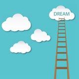 Segua la vostra illustrazione di sogno, della scala e della nuvola Immagine Stock