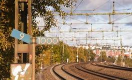 Segua un binario ferroviario Immagine Stock