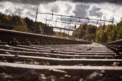 Segua un binario ferroviario Fotografie Stock