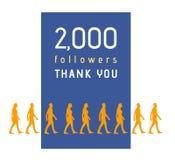2000 seguidores Imagens de Stock