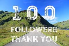 100 seguidores assinam ilustração stock