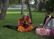 Seguidores de Krishna da lebre fotografia de stock royalty free