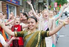 Seguidores de Krishna de las liebres Fotografía de archivo libre de regalías