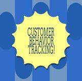 Seguimento do comportamento do cliente da escrita do texto da escrita Conceito que significa a ação que um usuário toma relativo  ilustração royalty free