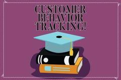 Seguimento do comportamento do cliente da exibição do sinal do texto Ação conceptual da foto que um usuário toma relativo a sua c ilustração stock