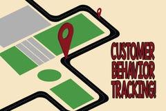 Seguimento do comportamento do cliente do texto da escrita Conceito que significa a ação que um usuário toma relativo a seu mapa  ilustração stock