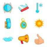 Seguindo os ícones ajustados, estilo dos desenhos animados Fotos de Stock