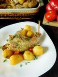 Segunda comida del curso Carne y patatas Imagen de archivo libre de regalías
