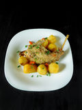 Segunda comida del curso Carne y patatas Foto de archivo libre de regalías