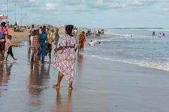 Segunda-feira à tarde na praia de Obama, Cotonou fotografia de stock royalty free