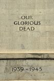 Segunda Guerra Mundial del cenotafio nuestros muertos gloriosos Foto de archivo libre de regalías