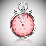 55 segundos Cronômetro realístico de prata com reflexão Vetor Fotografia de Stock Royalty Free