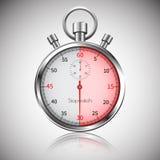 30 segundos Cronômetro realístico de prata com reflexão Vetor Imagens de Stock Royalty Free