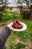 Seguo il parco per la salsiccia fritta Fotografie Stock Libere da Diritti