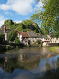 Segur le Chateau village and Auvezere river, France Royalty Free Stock Photos