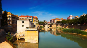 Segura river with ancient stone bridge. Murcia Royalty Free Stock Images