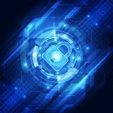 Segurança abstrata da tecnologia no fundo da rede global, ilustração do vetor Imagens de Stock
