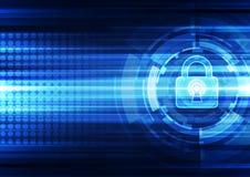 Segurança abstrata da tecnologia no fundo da rede global, ilustração do vetor Imagem de Stock