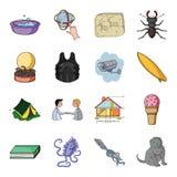 Segurança, acampamento, educação e o outro ícone da Web no estilo dos desenhos animados polvo, gato, ícones animais na coleção do ilustração stock