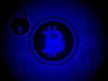 Segurança de Bitcoin, com fundo azul com ícone da segurança Fotografia de Stock
