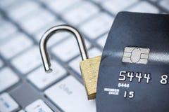 Segurança de dados do cartão de crédito fotografia de stock