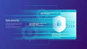 Segurança de dados, proteção de informação, engodo do vetor do controle de acesso ilustração stock