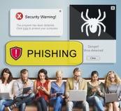 Segurança de Phishing do vírus que adverte o conceito alerta fotografia de stock