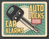 Segurança do alarme do carro, chave de controle remoto ilustração do vetor